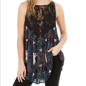 NWT Free People Count On Me Trapeze in Black Combo